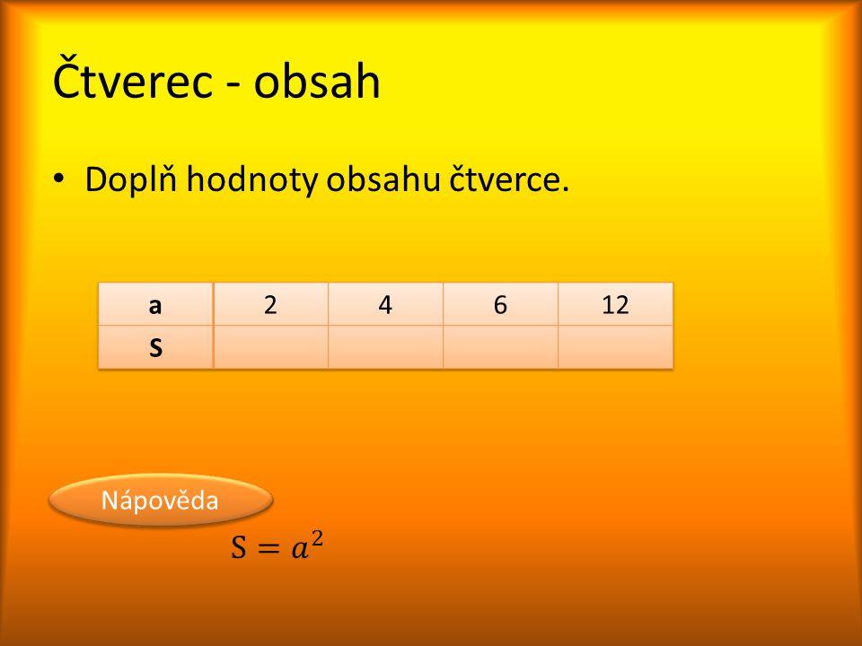 Čtverec - obsah Doplň hodnoty obsahu čtverce. S= 𝑎 2 a 2 4 6 12 S