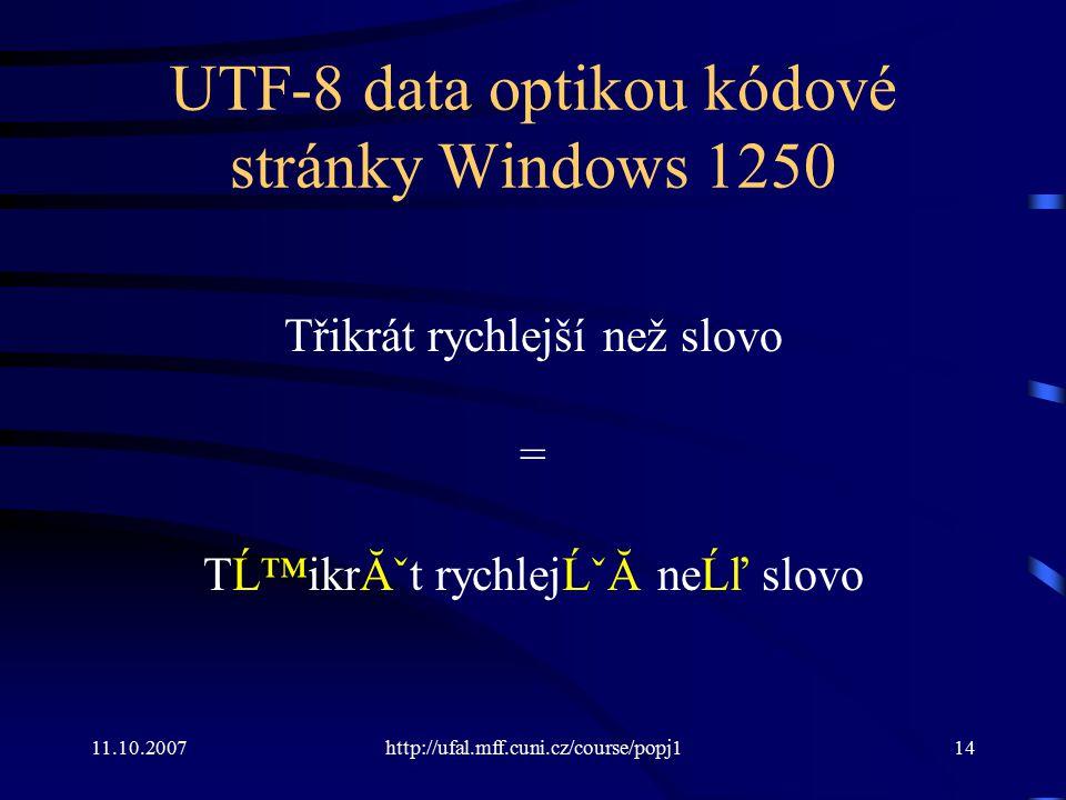 UTF-8 data optikou kódové stránky Windows 1250