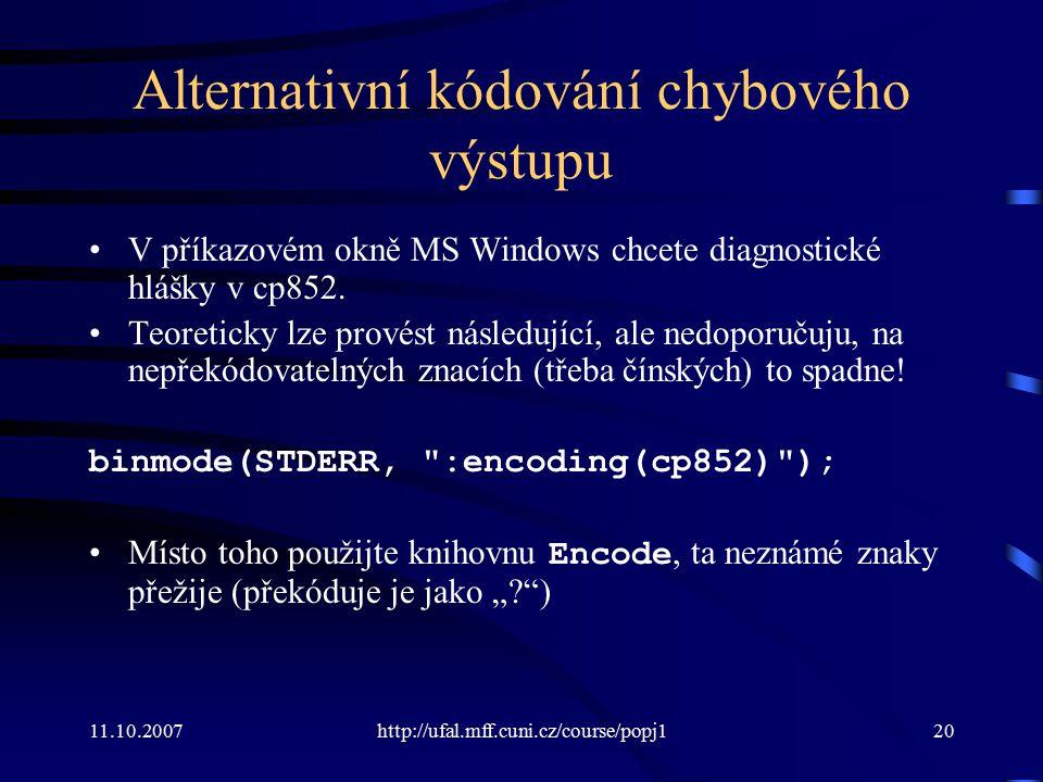 Alternativní kódování chybového výstupu