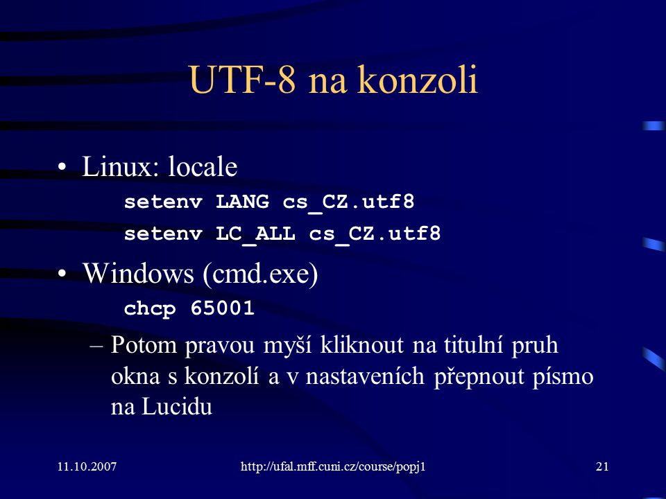 UTF-8 na konzoli Linux: locale Windows (cmd.exe)