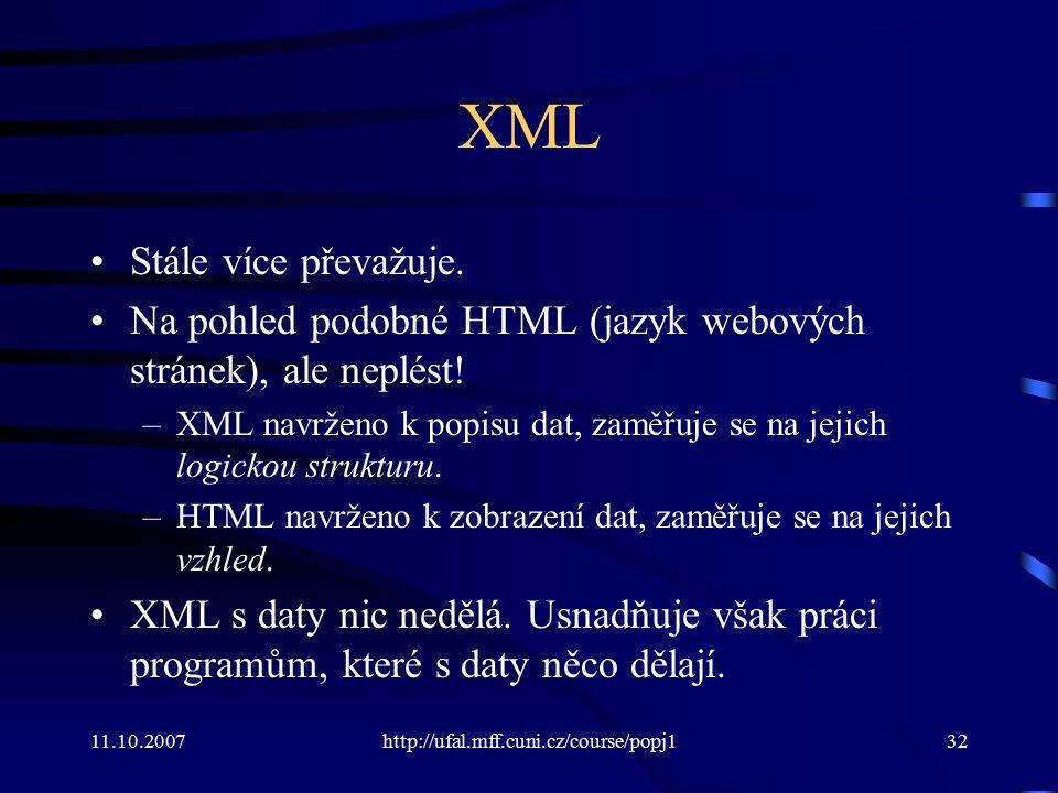 XML Stále více převažuje.