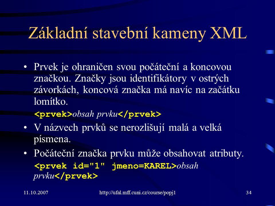 Základní stavební kameny XML
