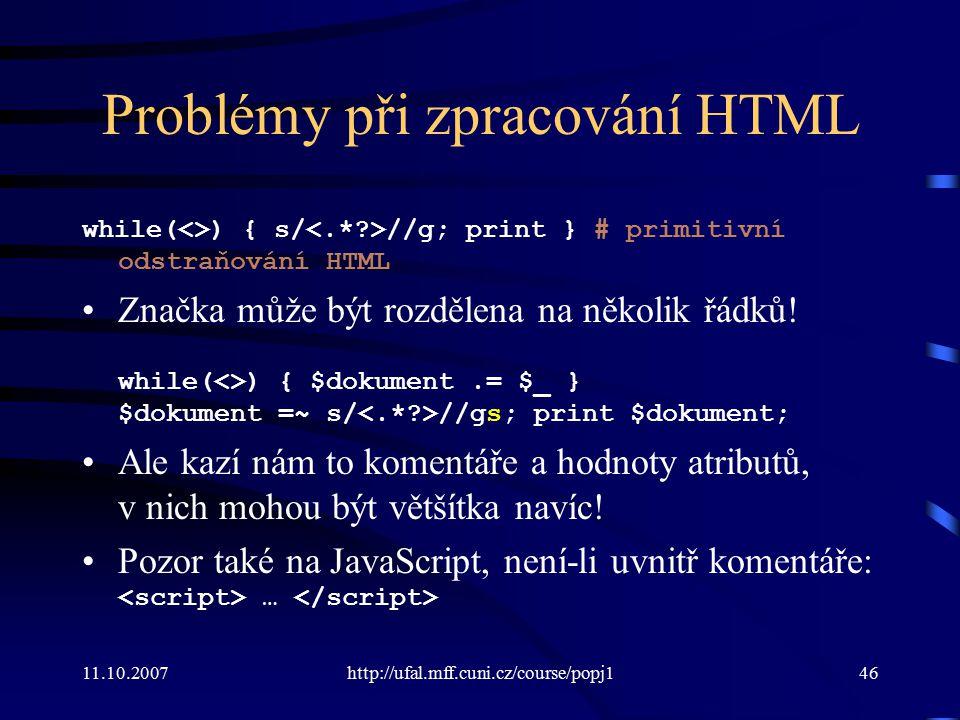 Problémy při zpracování HTML