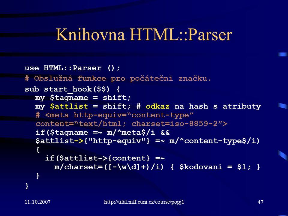 Knihovna HTML::Parser