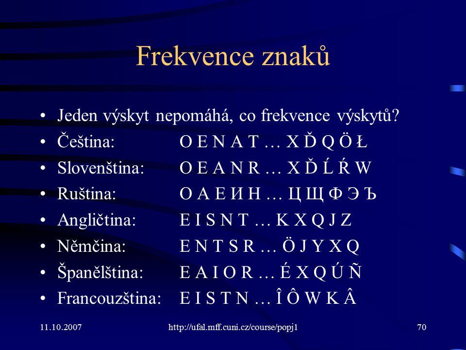 Frekvence znaků Jeden výskyt nepomáhá, co frekvence výskytů