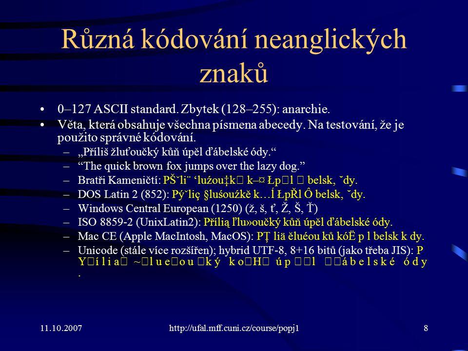 Různá kódování neanglických znaků