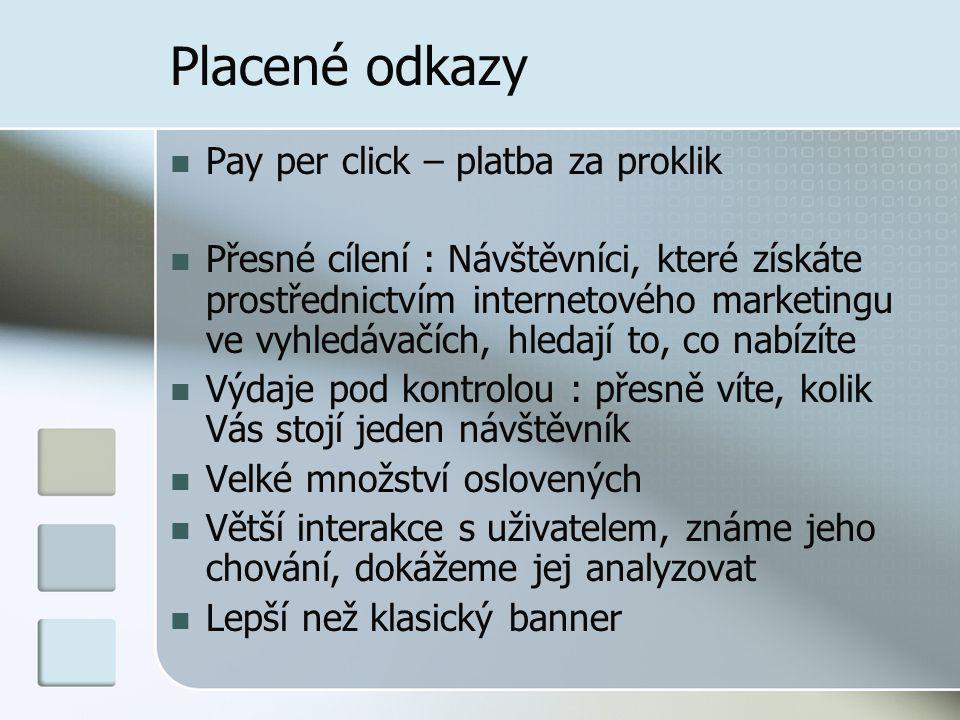 Placené odkazy Pay per click – platba za proklik