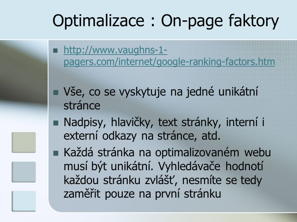 Optimalizace : On-page faktory