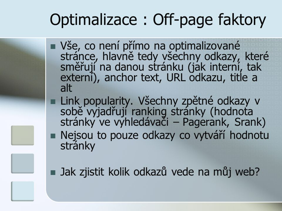 Optimalizace : Off-page faktory