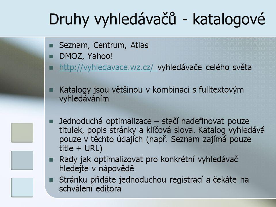 Druhy vyhledávačů - katalogové
