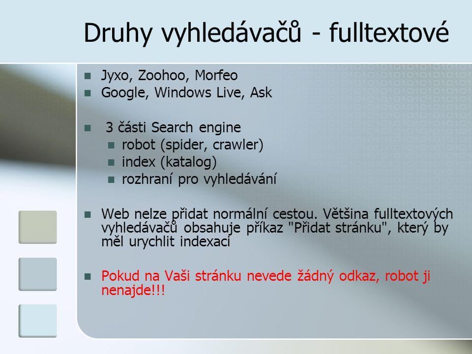 Druhy vyhledávačů - fulltextové