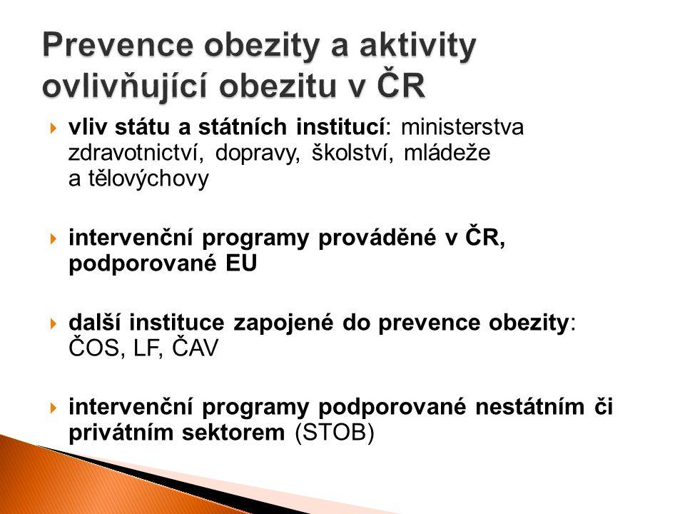 Prevence obezity a aktivity ovlivňující obezitu v ČR