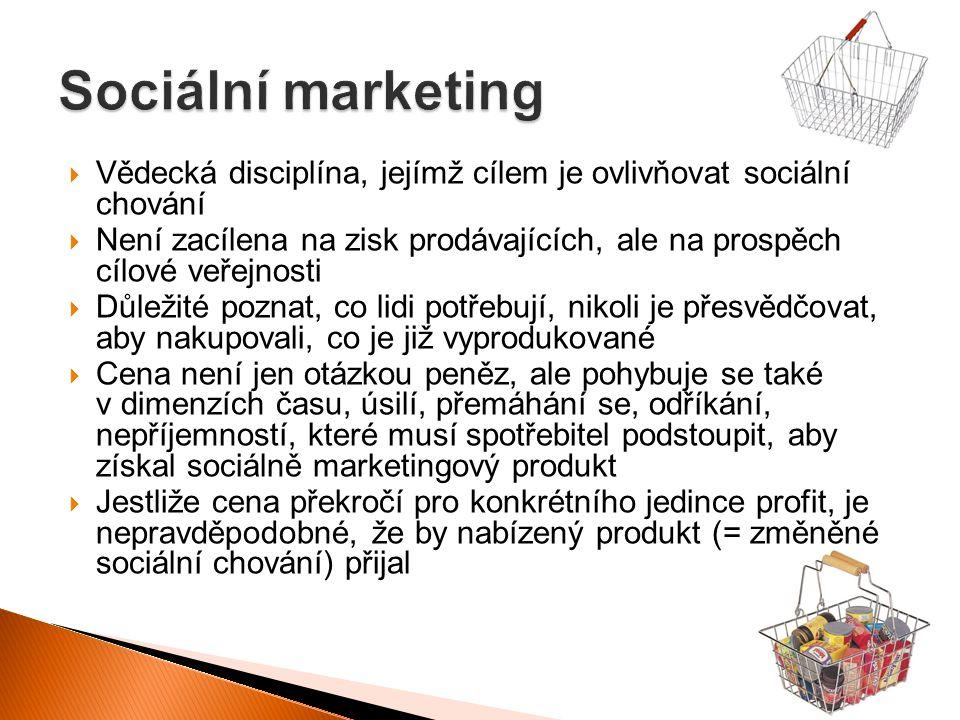 Sociální marketing Vědecká disciplína, jejímž cílem je ovlivňovat sociální chování.