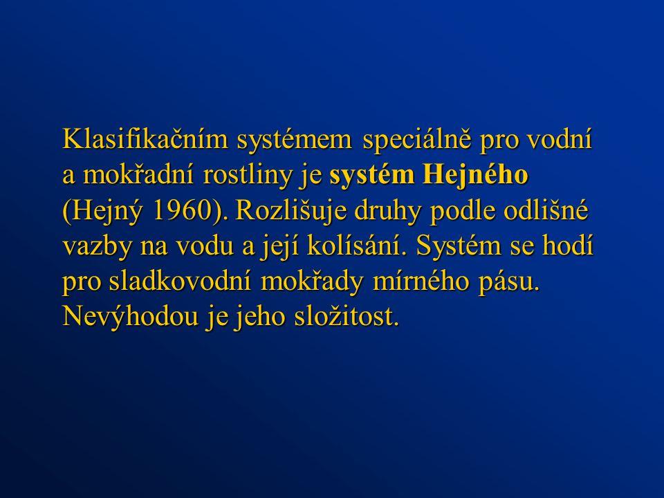 Klasifikačním systémem speciálně pro vodní a mokřadní rostliny je systém Hejného (Hejný 1960).