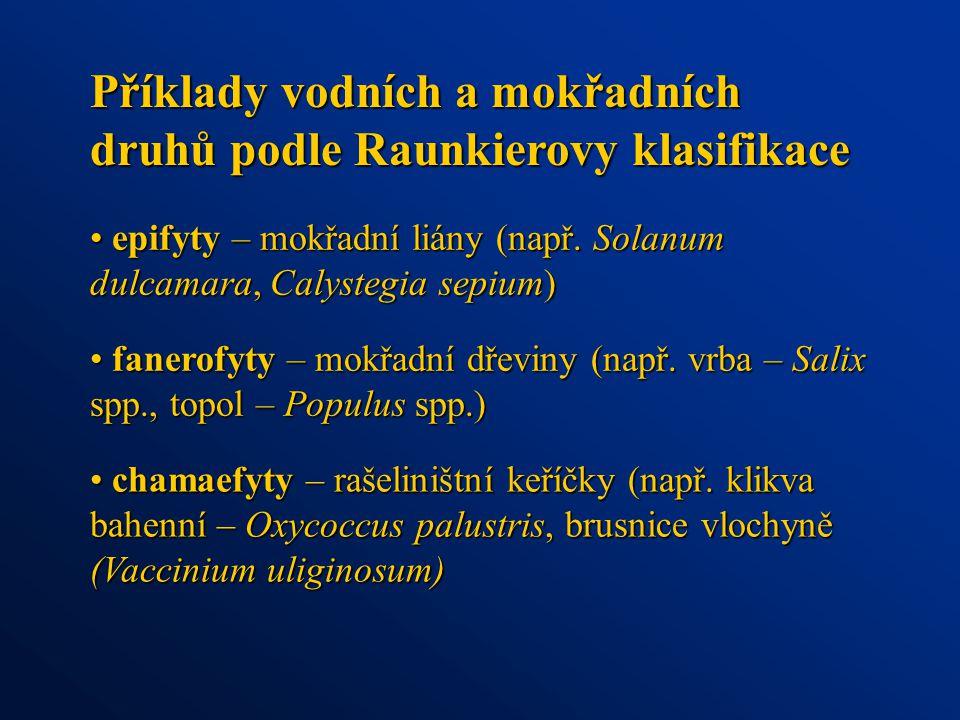 Příklady vodních a mokřadních druhů podle Raunkierovy klasifikace