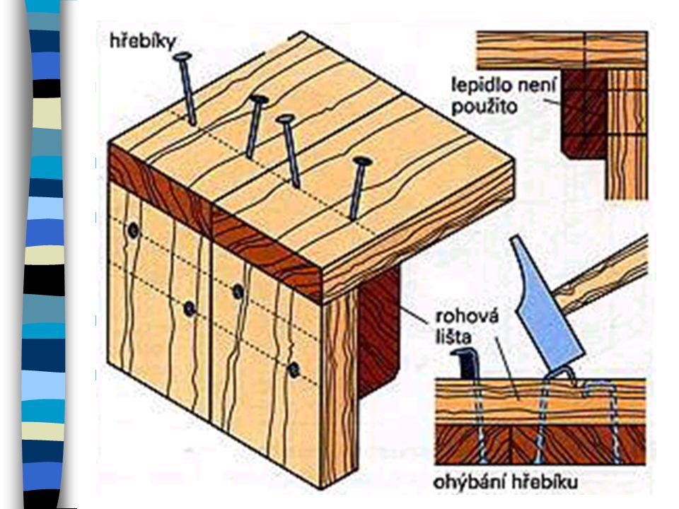 Spoje sbíjené hřebíky Sbíjení hřebíky se provádí při jednoduchém spojování.