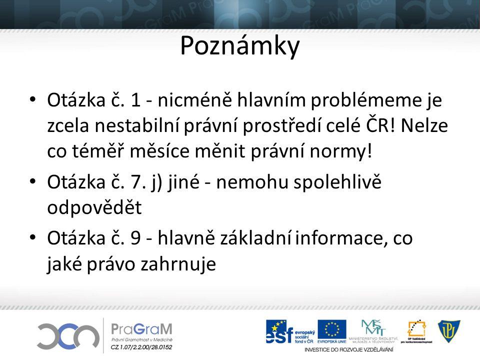 Poznámky Otázka č. 1 - nicméně hlavním problémeme je zcela nestabilní právní prostředí celé ČR! Nelze co téměř měsíce měnit právní normy!