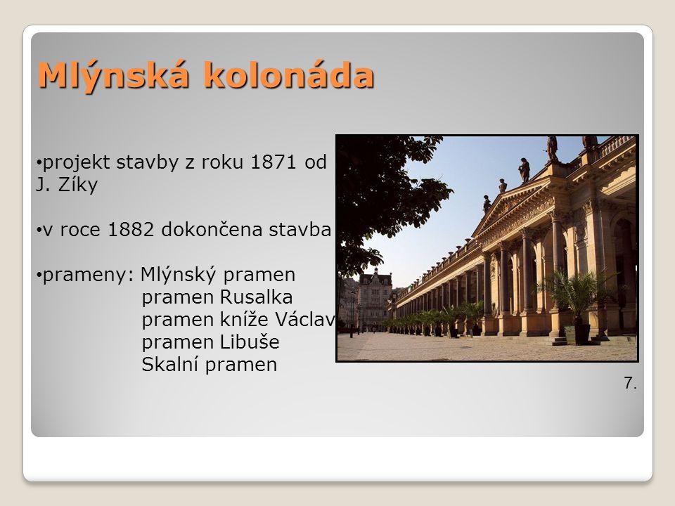 Mlýnská kolonáda projekt stavby z roku 1871 od J. Zíky