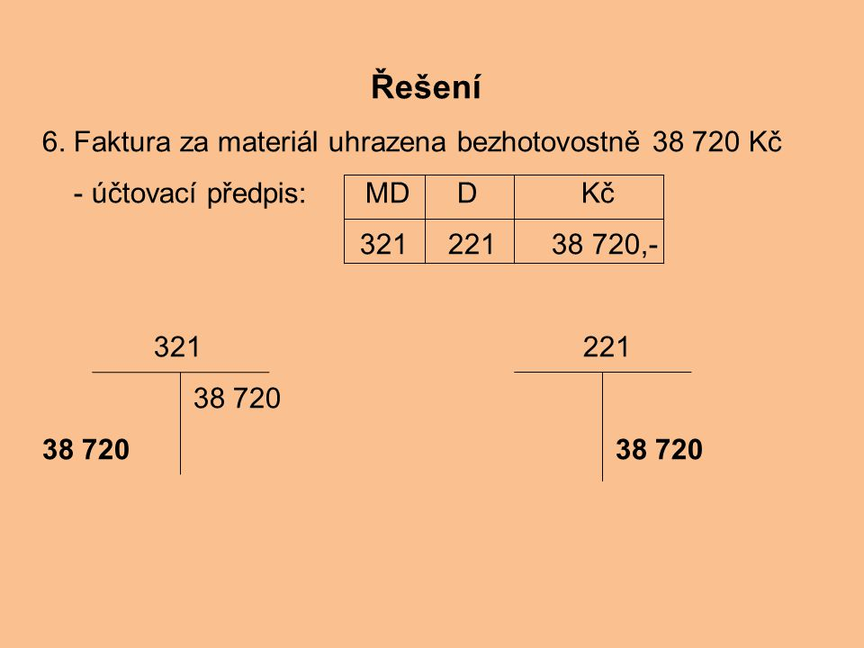 Řešení 6. Faktura za materiál uhrazena bezhotovostně 38 720 Kč
