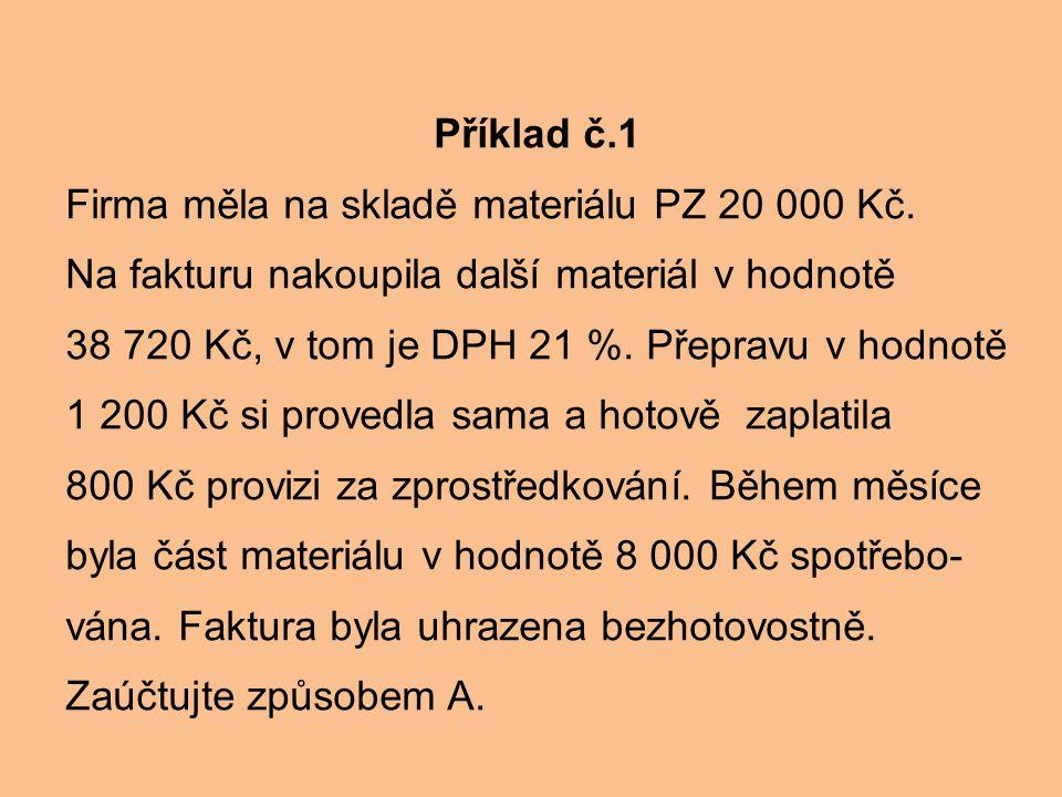 Příklad č.1 Firma měla na skladě materiálu PZ 20 000 Kč. Na fakturu nakoupila další materiál v hodnotě.