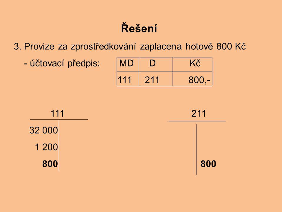 Řešení 3. Provize za zprostředkování zaplacena hotově 800 Kč