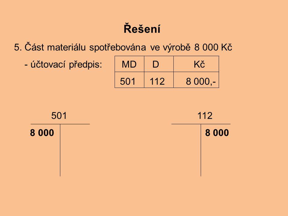 Řešení 5. Část materiálu spotřebována ve výrobě 8 000 Kč
