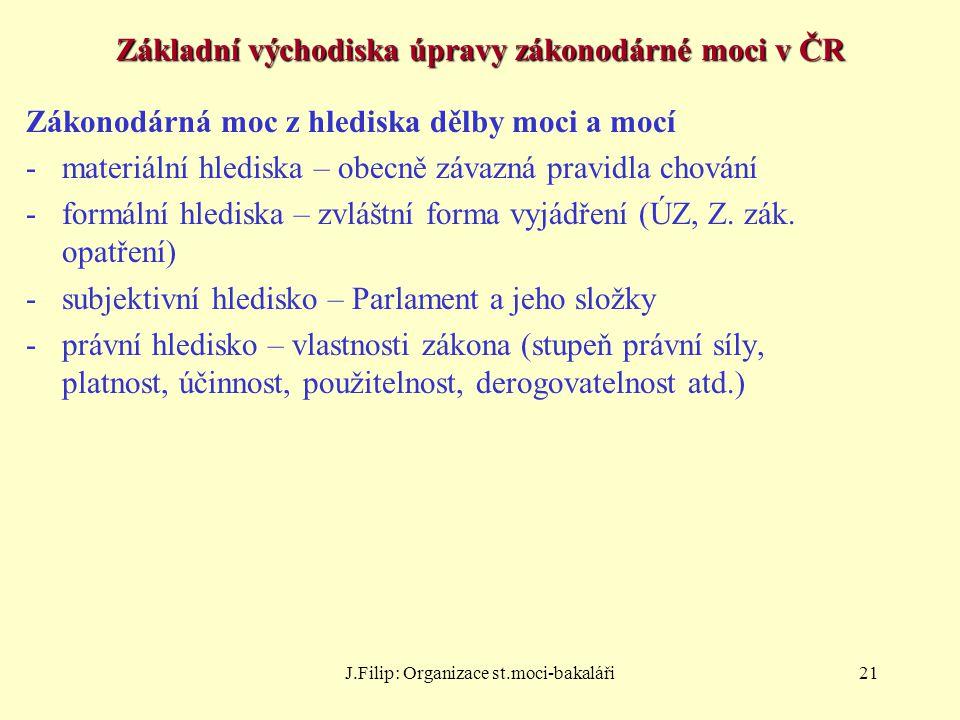 Základní východiska úpravy zákonodárné moci v ČR