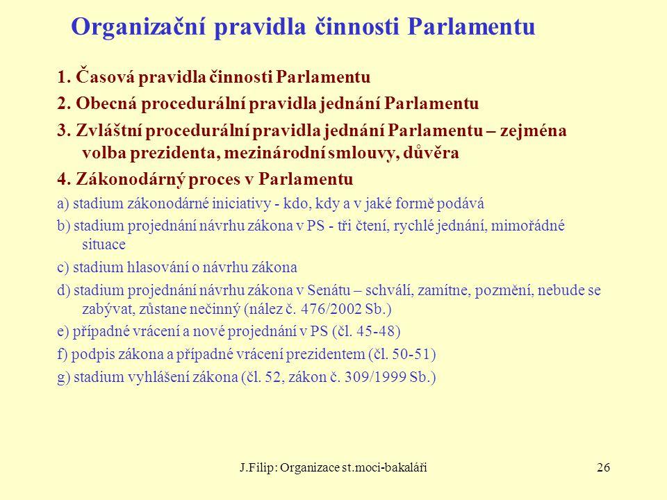 Organizační pravidla činnosti Parlamentu