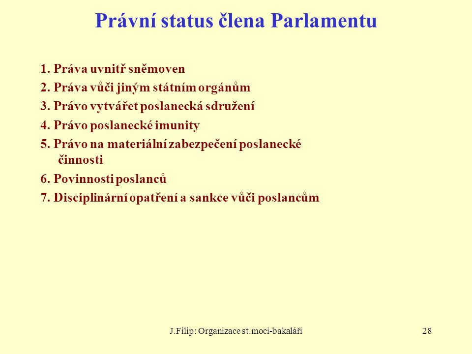 Právní status člena Parlamentu