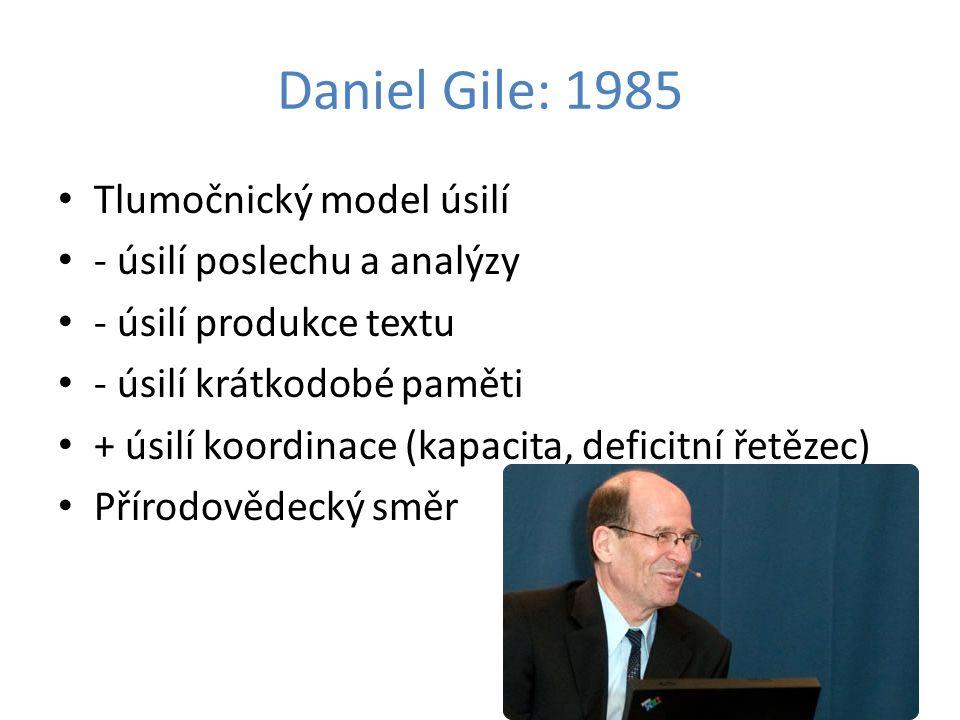 Daniel Gile: 1985 Tlumočnický model úsilí - úsilí poslechu a analýzy