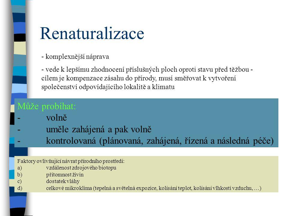 Renaturalizace Může probíhat: - volně - uměle zahájená a pak volně