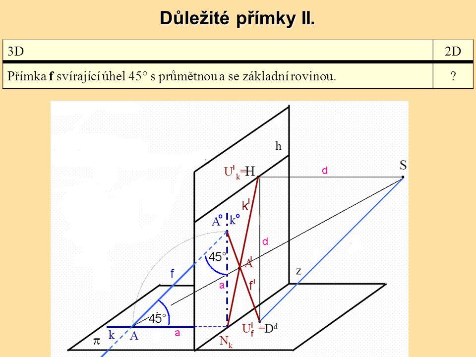 Důležité přímky II. 3D 2D Přímka f svírající úhel 45° s průmětnou a se základní rovinou.