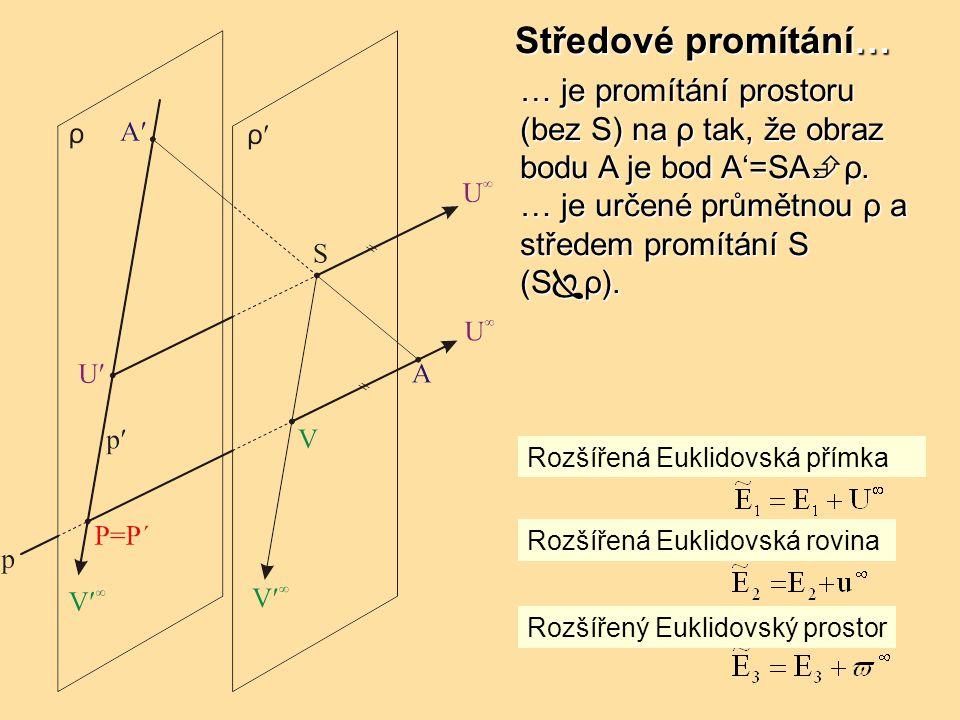 Středové promítání… … je promítání prostoru (bez S) na ρ tak, že obraz bodu A je bod A'=SAρ. … je určené průmětnou ρ a středem promítání S (Sρ).
