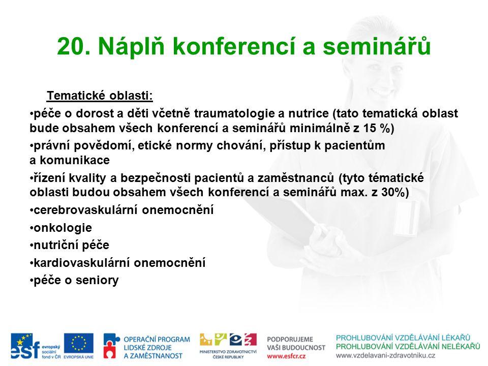 20. Náplň konferencí a seminářů