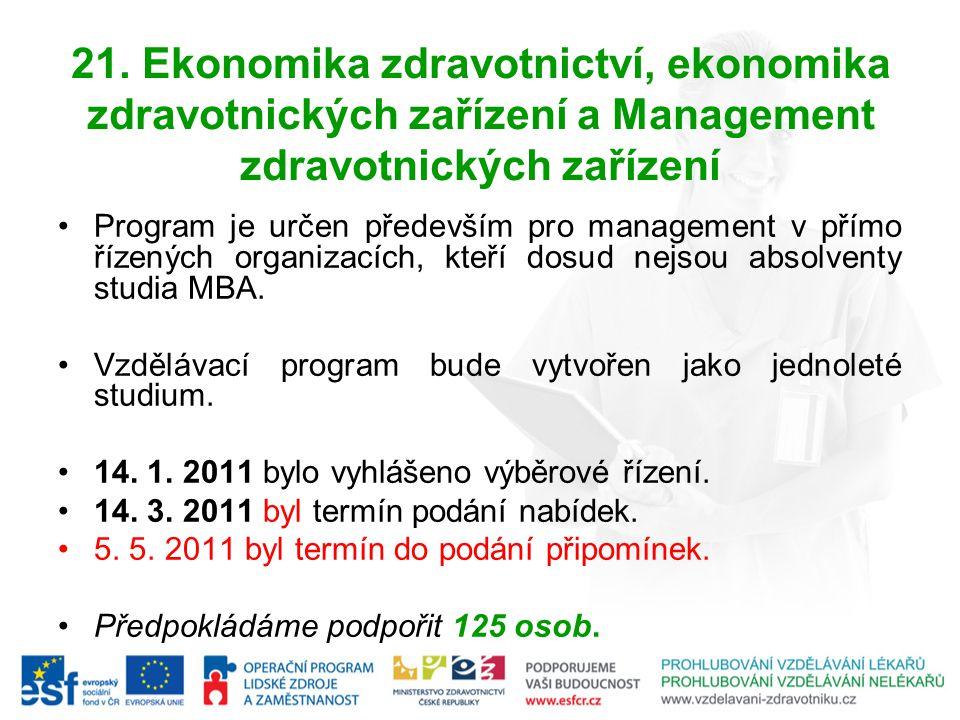 21. Ekonomika zdravotnictví, ekonomika zdravotnických zařízení a Management zdravotnických zařízení