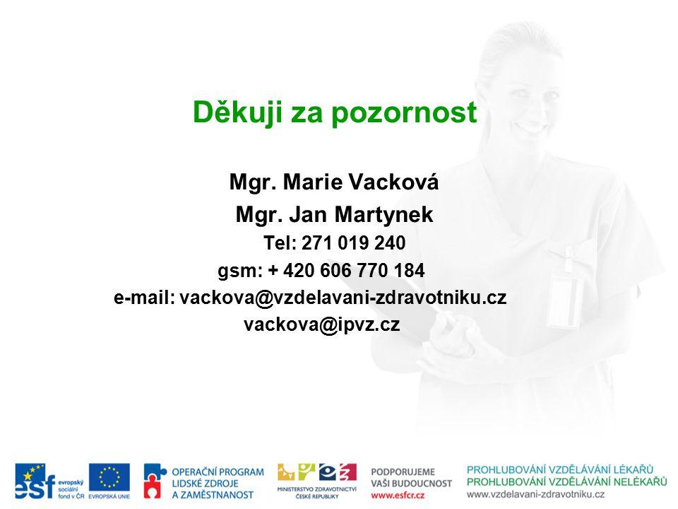 Děkuji za pozornost Mgr. Marie Vacková Mgr. Jan Martynek