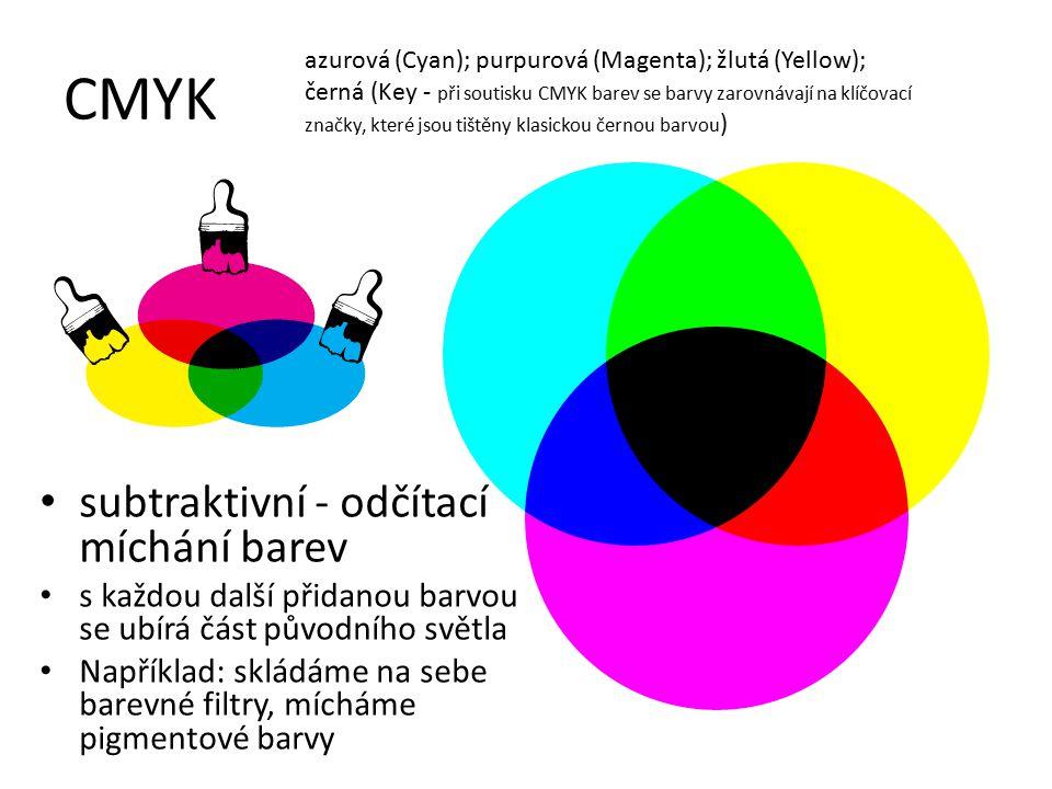 CMYK subtraktivní - odčítací míchání barev