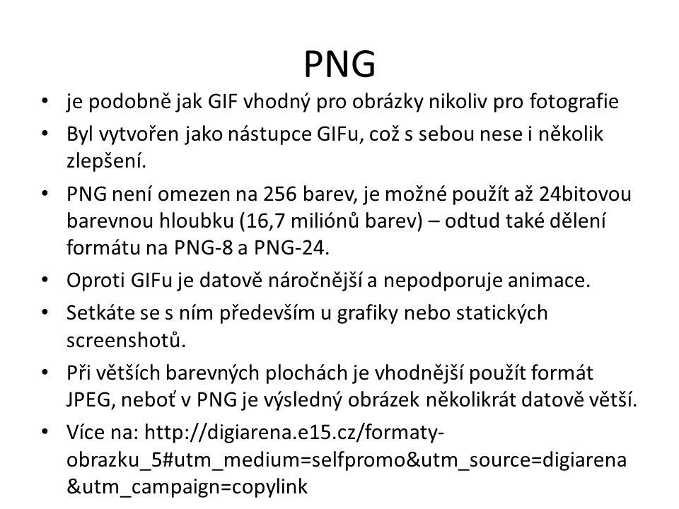 PNG je podobně jak GIF vhodný pro obrázky nikoliv pro fotografie