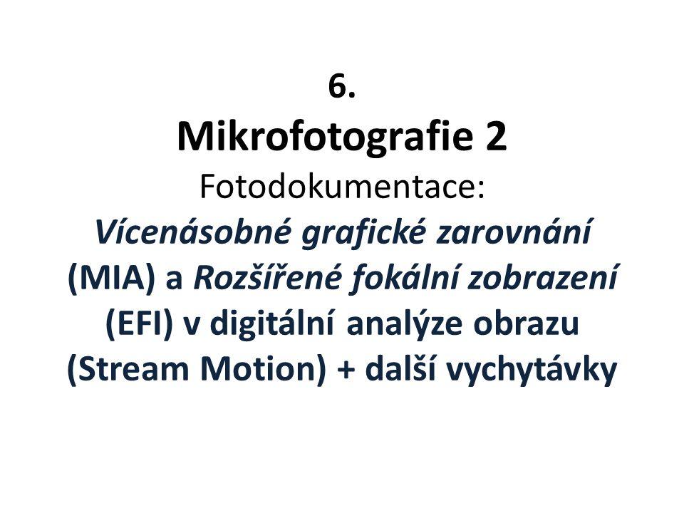 6. Mikrofotografie 2 Fotodokumentace: Vícenásobné grafické zarovnání (MIA) a Rozšířené fokální zobrazení (EFI) v digitální analýze obrazu (Stream Motion) + další vychytávky