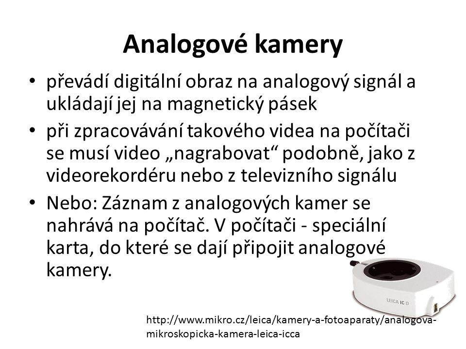 Analogové kamery převádí digitální obraz na analogový signál a ukládají jej na magnetický pásek.