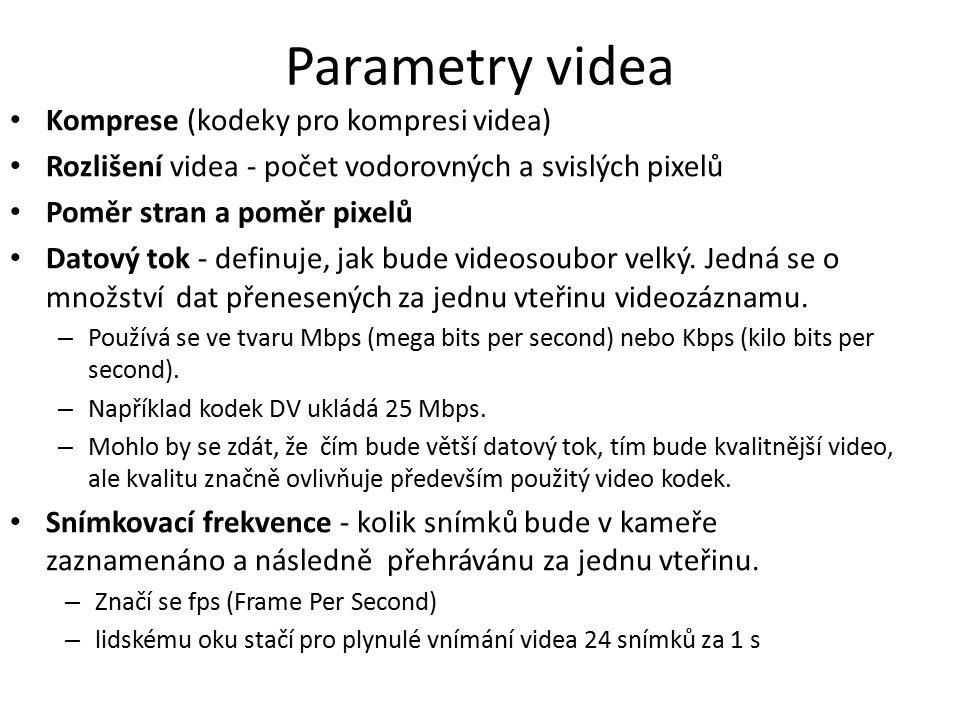 Parametry videa Komprese (kodeky pro kompresi videa)