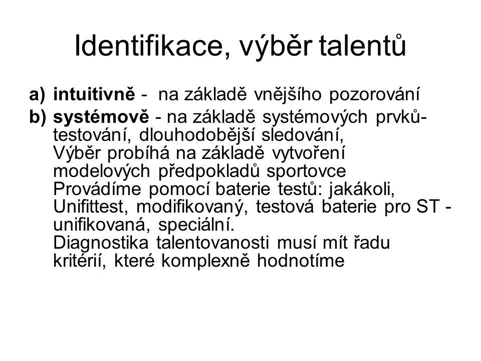 Identifikace, výběr talentů