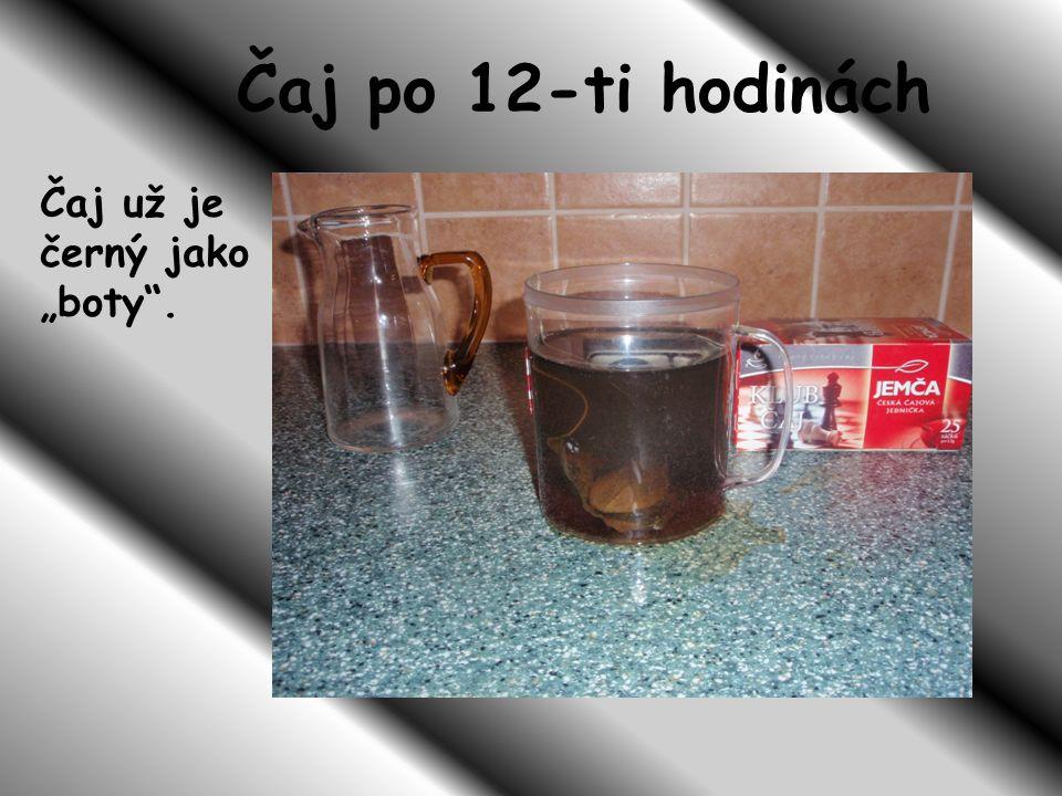 """Čaj po 12-ti hodinách Čaj už je černý jako """"boty ."""