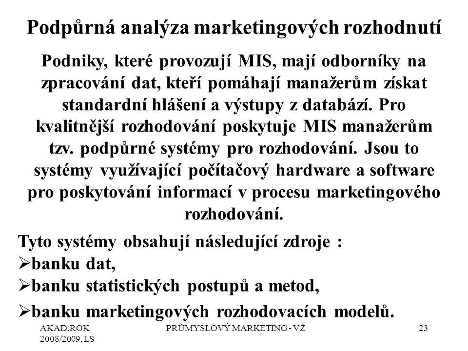 Podpůrná analýza marketingových rozhodnutí