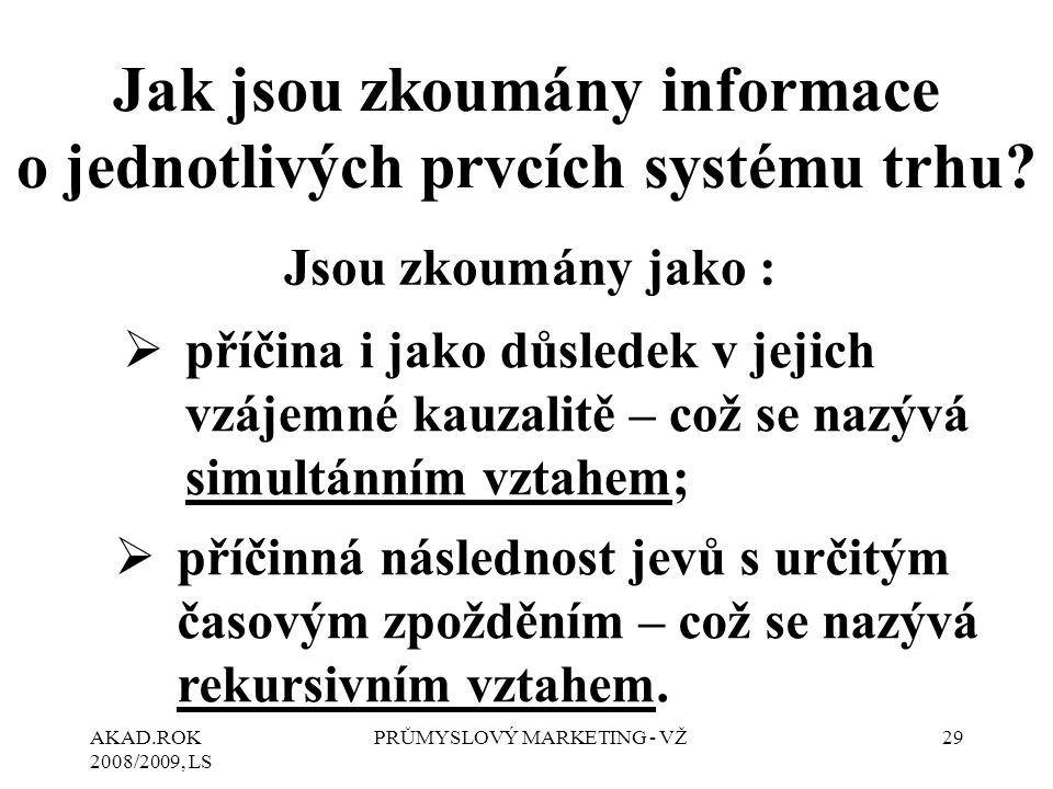 Jak jsou zkoumány informace o jednotlivých prvcích systému trhu