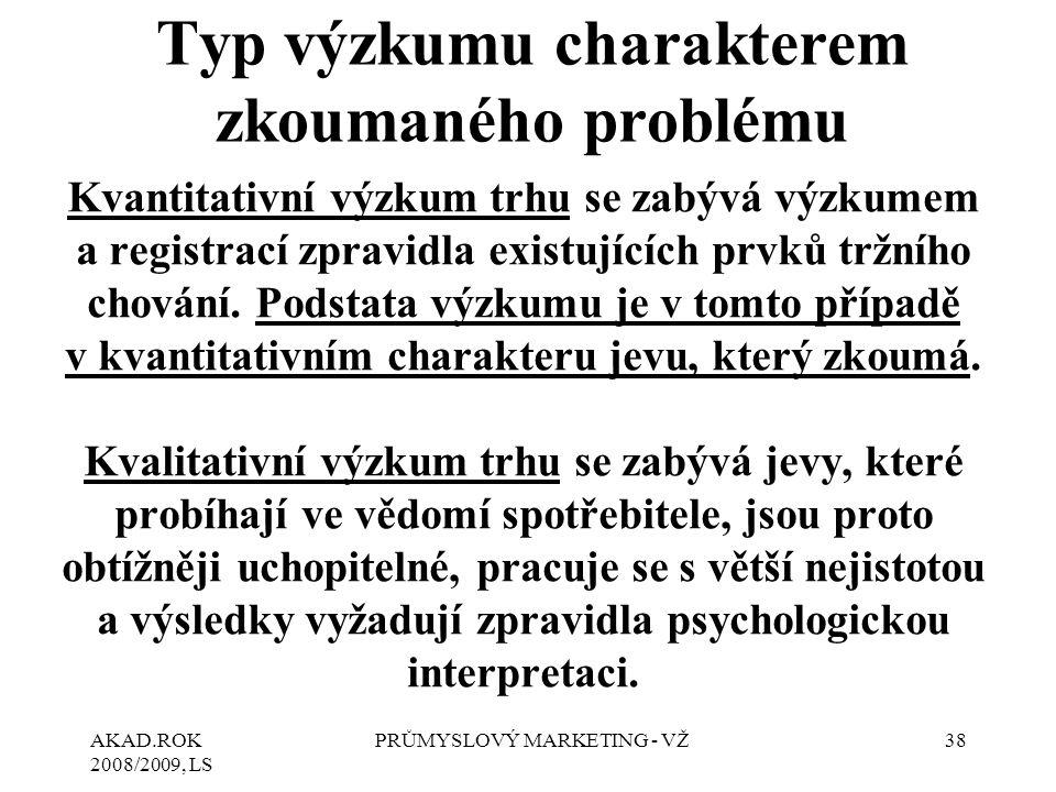Typ výzkumu charakterem zkoumaného problému