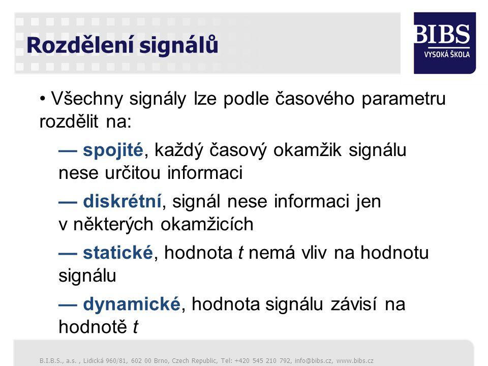 Rozdělení signálů Všechny signály lze podle časového parametru rozdělit na: — spojité, každý časový okamžik signálu nese určitou informaci.