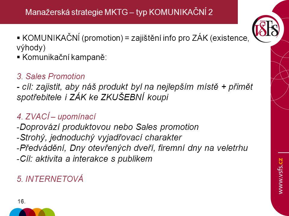 Manažerská strategie MKTG – typ KOMUNIKAČNÍ 2