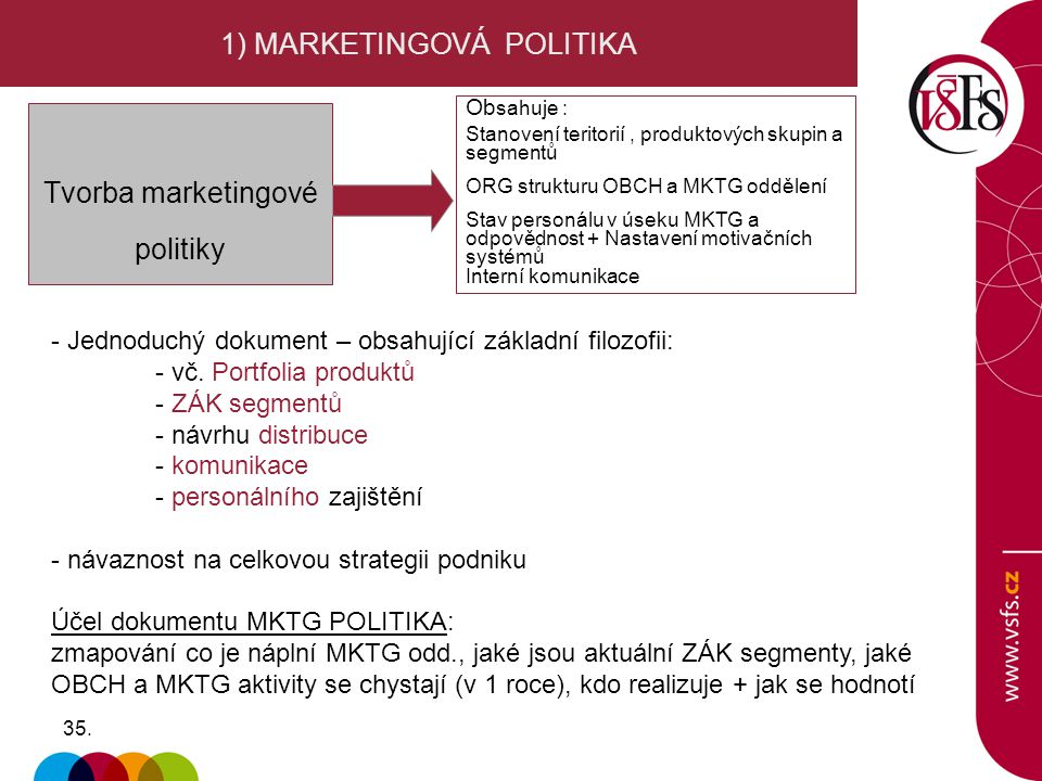 1) MARKETINGOVÁ POLITIKA