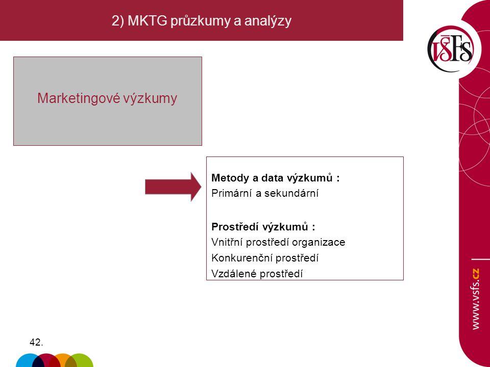 2) MKTG průzkumy a analýzy
